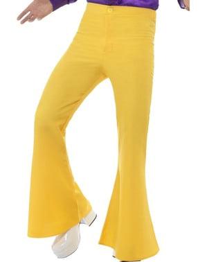 Calças dos anos 70 amarelas para homem