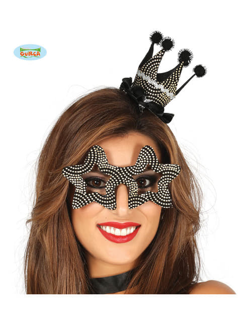 Crown and black and silver glasses set for adults