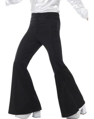 Calças dos anos 70 pretas para homem