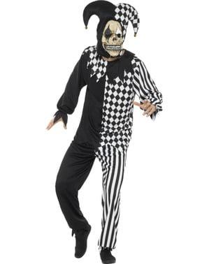 Costum de arlechin tulburător negru cu alb pentru adult