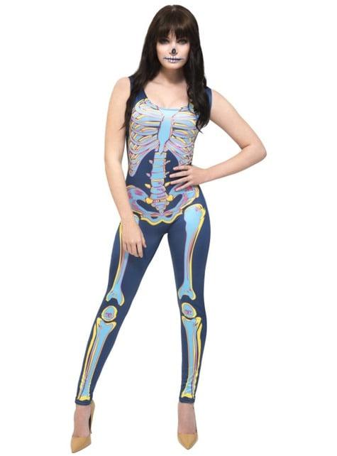 Multi kleuren skelet kostuum voor vrouw