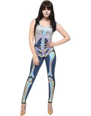 Fato de esqueleto multicolor fever para mulher