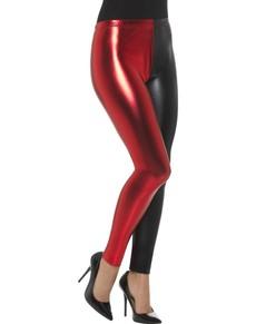 Leggins rojas y negras metalizadas para mujer