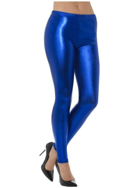 Legging bleu métallisé femme