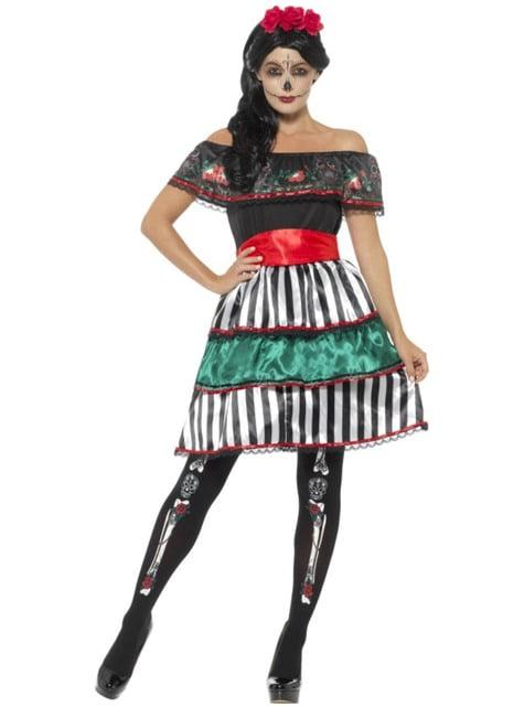 Disfraz de señorita Catrina del día de los muertos para mujer