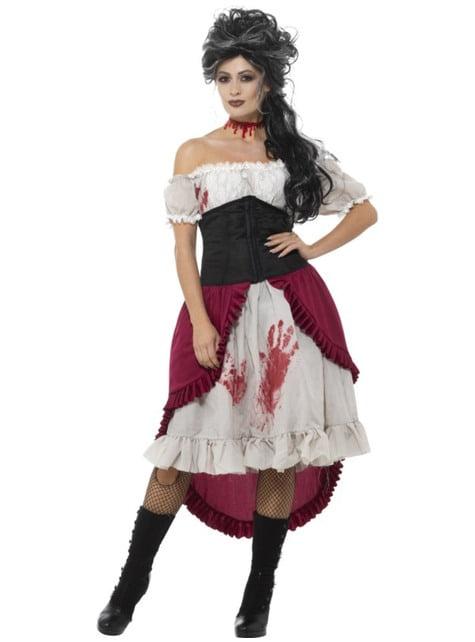 Déguisement victime d'un vampire victorien femme