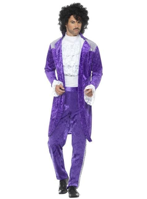Fato de músico dos anos oitenta Purple para homem