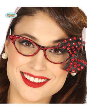 Kadınlar için Diamante ve kırmızı fiyonklu gözlükler