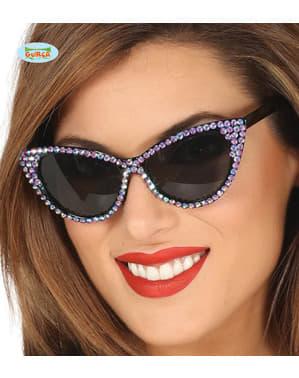 Yetişkinler için Rock 'n Roll mor diamante gözlükleri