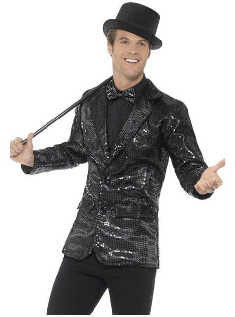 Black sequin jacket for men