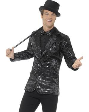 Zwarte pailletten jas voor mannen