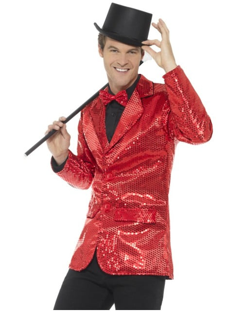 Červené flitrové sako pro muže