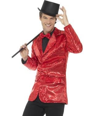 Veste à paillettes rouge homme