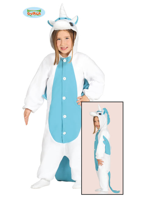 Blue unicorn onesie costume for kids