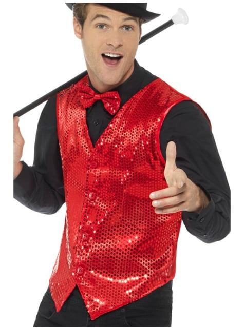Red sequin waistcoat for men