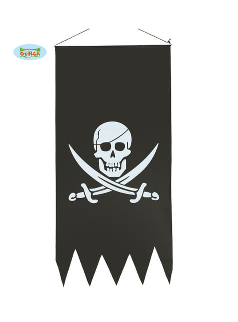 Black pirate flag with skull