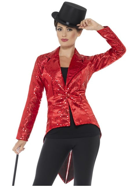 Chaqueta de lentejuelas roja para mujer