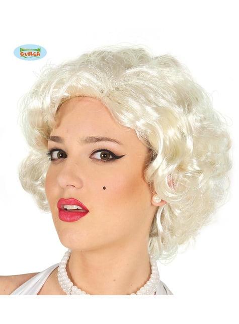 Peluca Marilyn rubia rizada corta para mujer