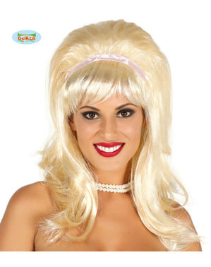 Peluca con flequillo años 50 con cinta blanca rubia para mujer