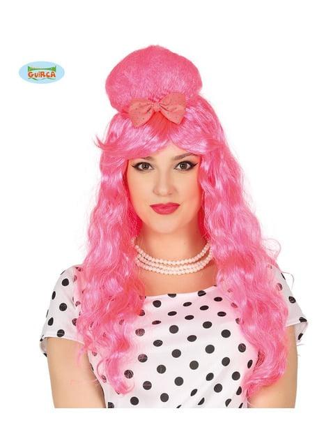 Peluca Pin Up rosa con moño para mujer
