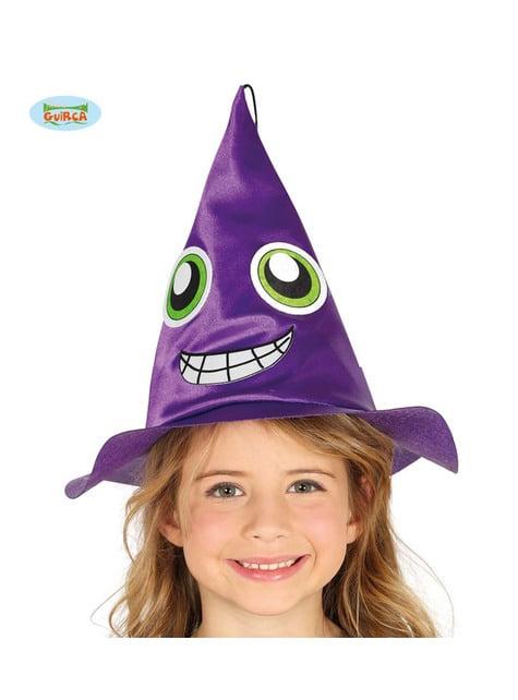 Pălărie de vrăjitoare mov cu față pentru copii