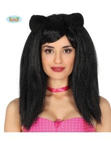 Parrucca da gattina con orecchie brune lisce per donna