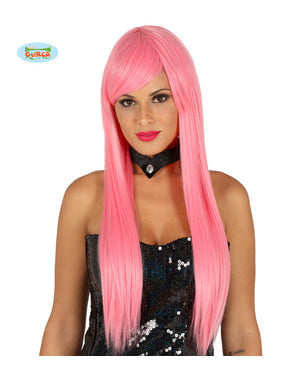 Peluca con flequillo rosa lisa para mujer