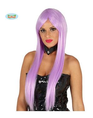 Perruque raide avec frange violette femme