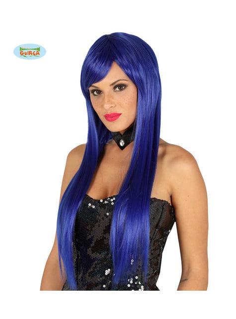 Peluca con flequillo azul eléctrica lisa para mujer