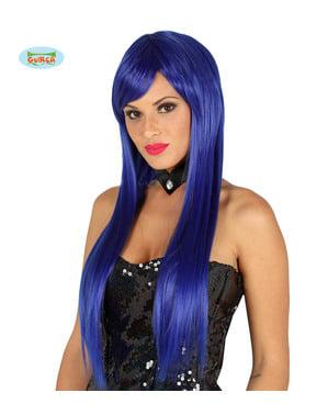 Peruca com franja azul elétrica lisa para mulher