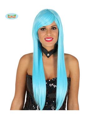 Peluca con flequillo azul lisa para mujer