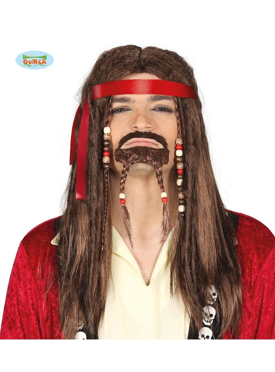 chestnut pirate goatee with braids wig for men. the coolest | funidelia