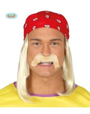 Peluca con pañuelo y bigote de motero rubio para hombre