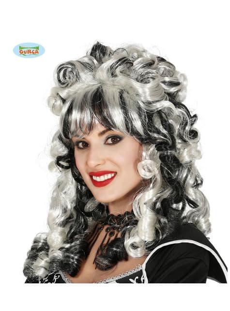 Perruque baroque noire et blanche frisée femme
