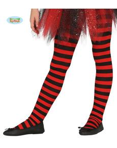 99d76dd0b Collants de bruxa de riscas pretas e vermelhas para menina