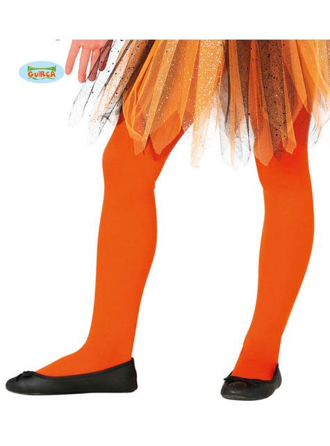 Collants cor de laranja infantis