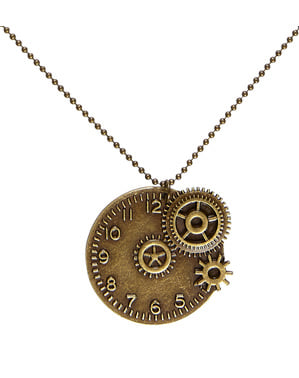Collier horloge steampunk