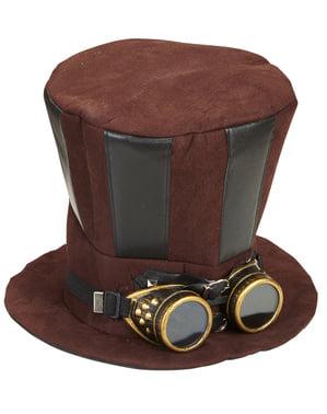 Steampunk hoed met bril voor volwassenen