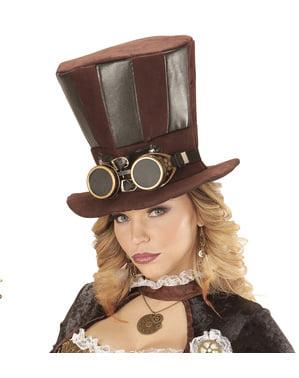 Chapéu Steampunk com óculos para adulto