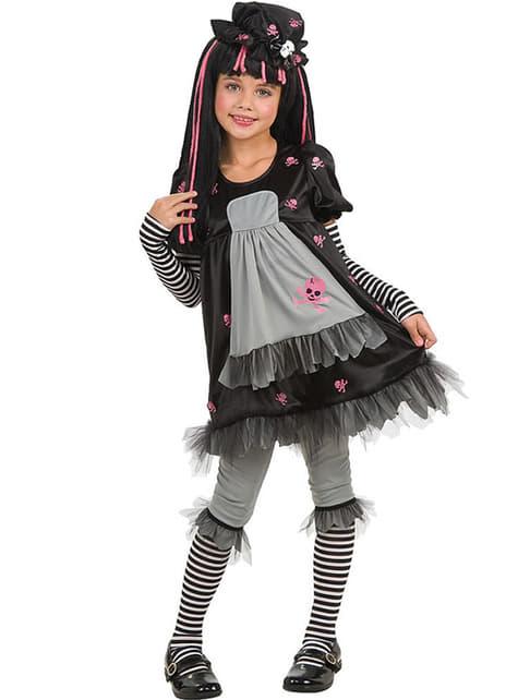Gotisk Svart Dukke Kostyme Jente
