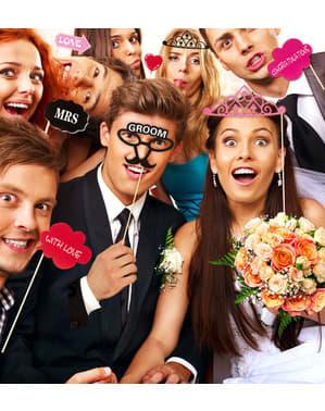 Sett med 20 bildemaske deler for bryllup