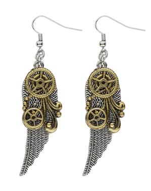 Vleugel steampunk oorbellen