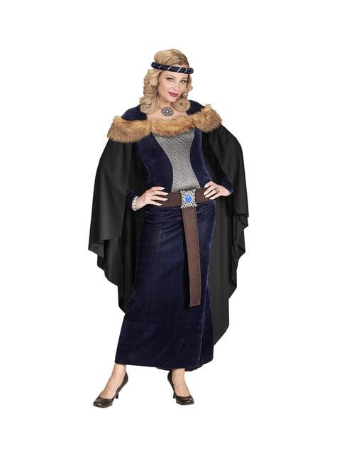 Fato de princesa medieval escura para mulher
