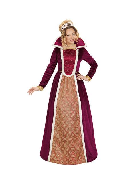 Disfraz de reina elegante granate para mujer