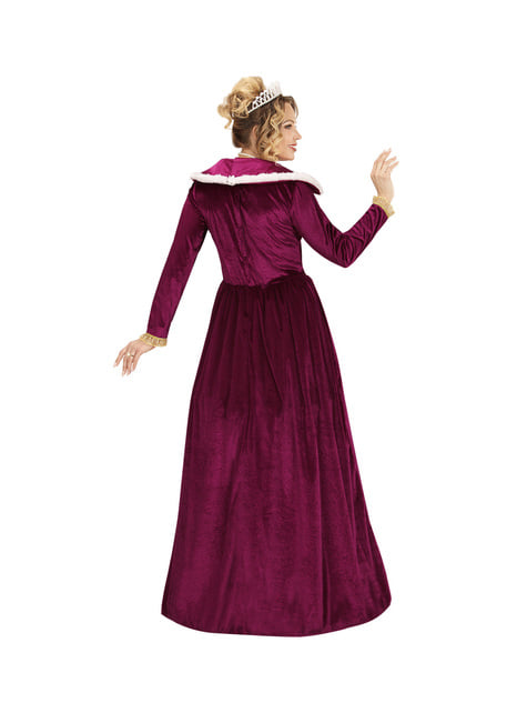 Women's dark red elegant queen costume
