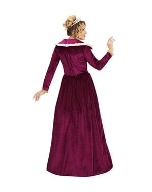 Strój eleganckiej królowej bordowy damski