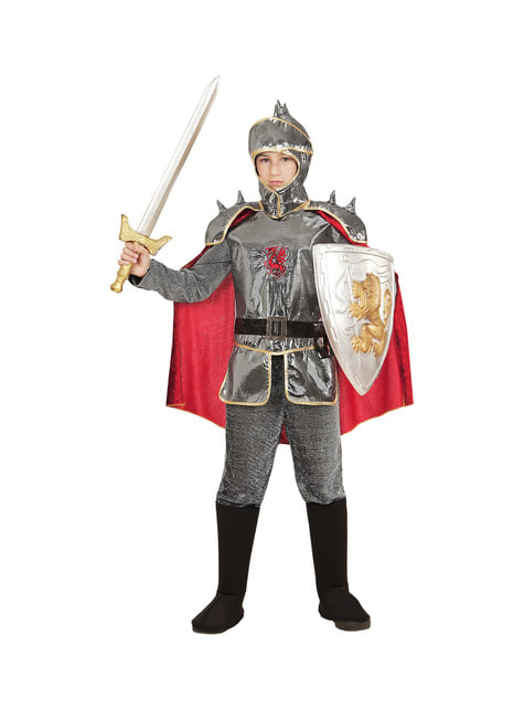 Déguisement chevalier médiéval argenté enfant