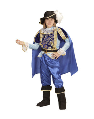 Maskeraddräkt prins blå storslagen för barn