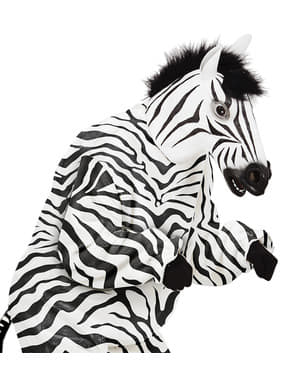 Máscara de zebra peluda para adulto