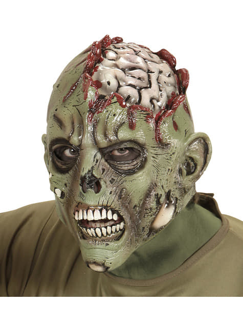 Máscara de zombie con el cráneo abierto para adulto